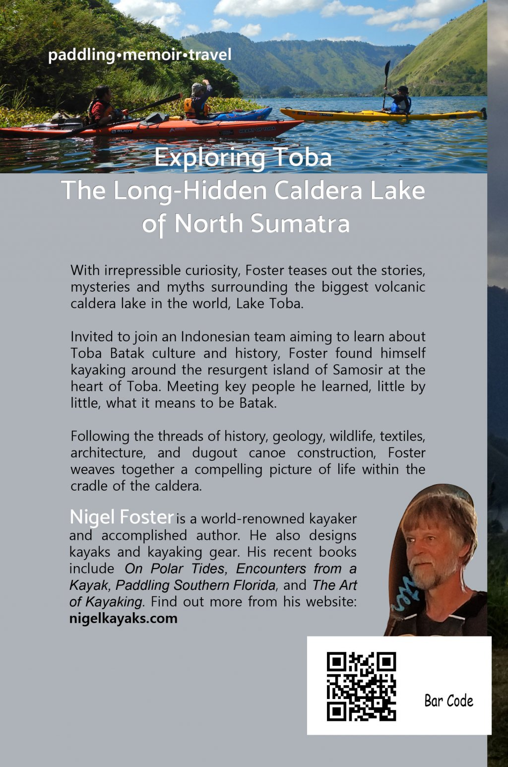 Back cover of book, Heart of Toba, by author Nigel Foster